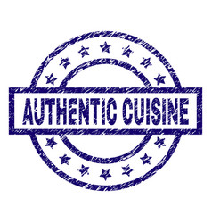 Scratched textured authentic cuisine stamp seal vector