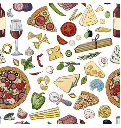 seamless hand drawn pattern with italian food vector image