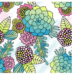 Seamless pattern colorful succulent wallpaper vector
