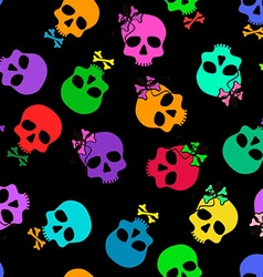 Seamless pattern of funny cartoon skulls vector