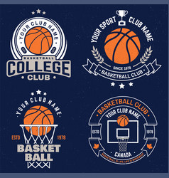 set basketball club badge graphic vector image