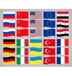 set flags countries in world vector image