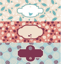 set of cute floral banners vector image