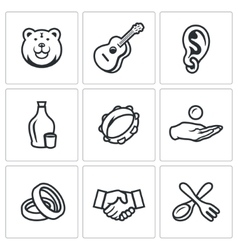 Set of Gypsy Camp Icons Bear Guitar Eear vector image