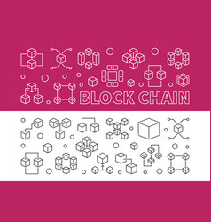 set of two block chain concept banners in vector image
