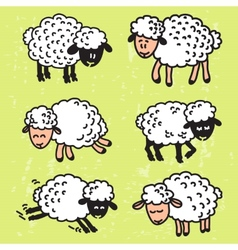 set with cute sheep EPS10 vector image