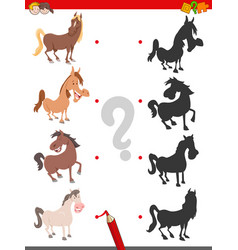 shadow game with funny horse characters vector image