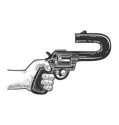 Shooter revolver sketch vector