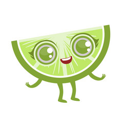 Slice of lime cute anime humanized cartoon food vector