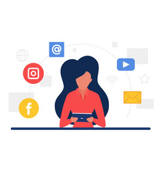 social media communication concept with network vector image