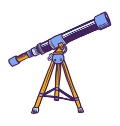 space telescope icon hand drawn style vector image