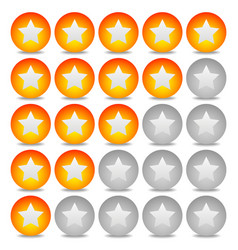 Star rating system with 5 stars and sphere vector