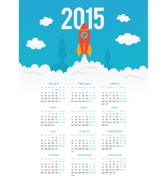 Startup rocket in flat style 2015 calendar vector image