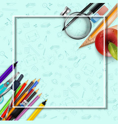 Stationery and an apple background vector