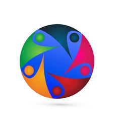 teamwork world group people logo vector image