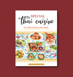 Thai food poster design with grilled chicken tom vector