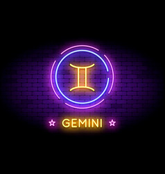 The gemini zodiac symbol in neon style on a wall vector