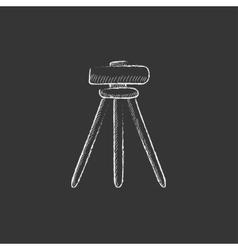 Theodolite on tripod Drawn in chalk icon vector