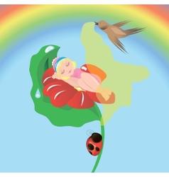 thumbelina sleeping vector image vector image
