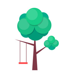 Tree swing isolated on white vector
