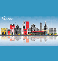verona italy city skyline with color buildings vector image