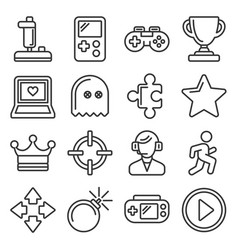 video game and controller icons set line style vector image