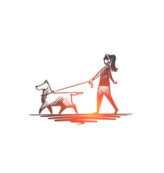 walk pet dog lifestyle darling concept hand vector image