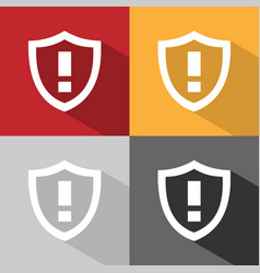 warning shield icon with shade on colored vector image