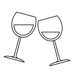 Wine glasses icon outline style vector