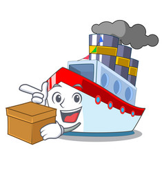With box aerial in cartoon cargo ship view vector