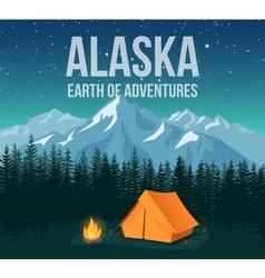 Alaska national park wildlife travel vintage vector image vector image