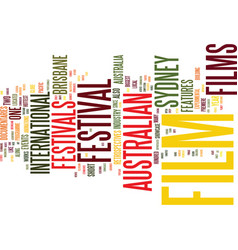 australian film festivals text background word vector image