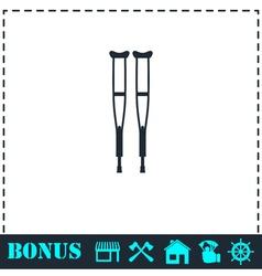Health crutches icon flat vector image