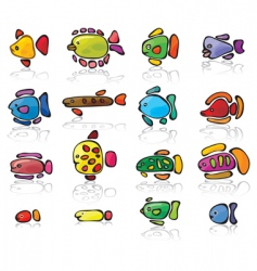 icons of fish vector image vector image