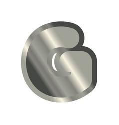 letter g steel font metal alphabet sign iron abc vector image