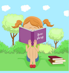 little girl reading interesting book in park vector image vector image