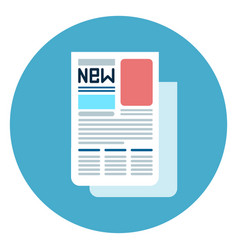 newspaper icon web button on round blue background vector image