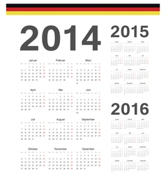 Set of german 2014 2015 2016 year calendars vector image vector image