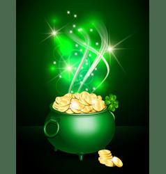 st patricks day symbol green pot vector image vector image