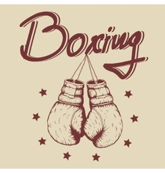 Vintage label with old boxing gloves vector