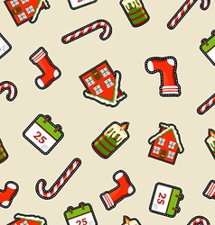 Christmas ornament patch icon pattern background vector