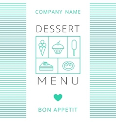 Dessert Menu Card Design template vector image