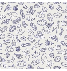 Fruits and vegetables sketch seamless pattern vector image vector image