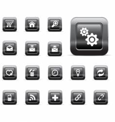 glossy buttons black chrome vector image vector image
