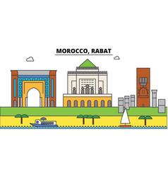 morocco rabat outline city skyline linear vector image vector image