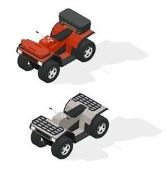 Quad bikes isometric icons set vector image