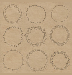 set of decorative wreaths doodle vector image vector image