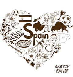 Spanish symbols in heart shape concept vector image vector image