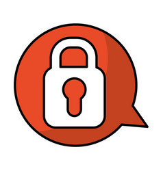 Speech bubble with safe padlock isolated icon vector