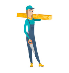 carpenter holding saw and wooden board vector image